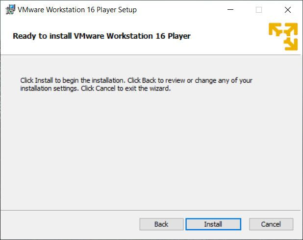 Ready to Install VMware Workstation 16 Player