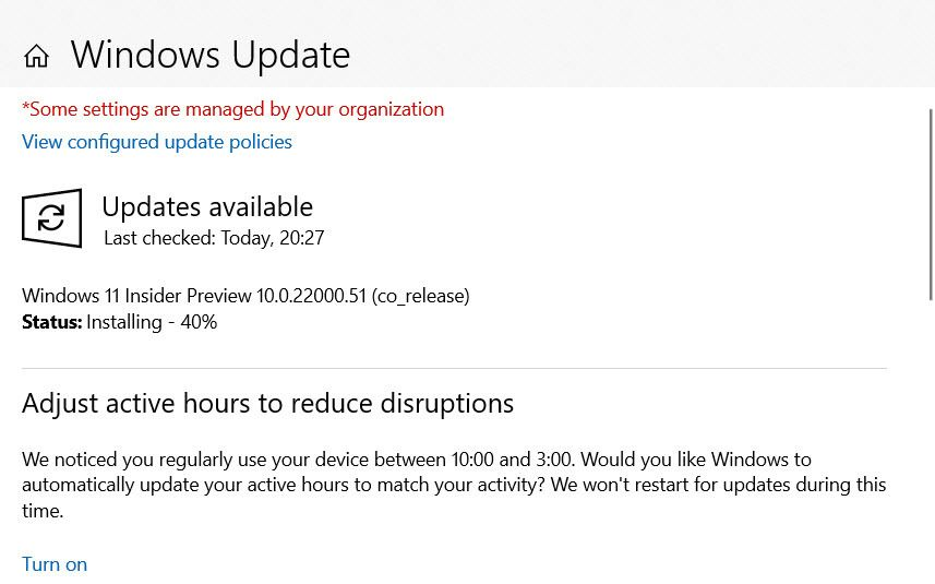 The installation is continueing on Windows Update