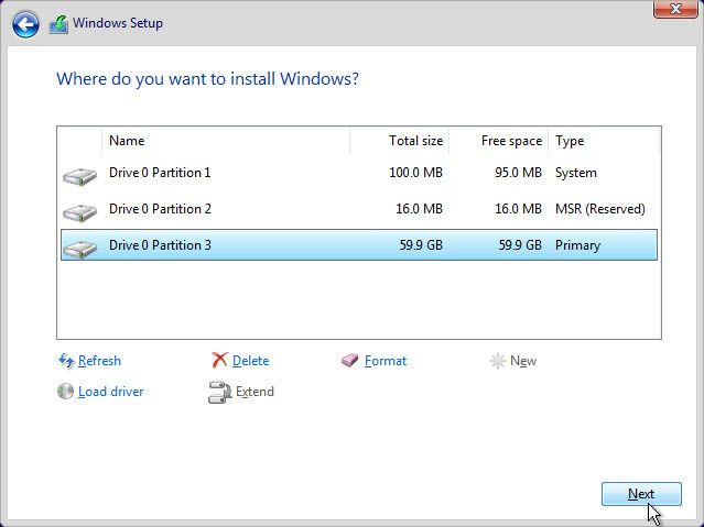Select the Partition You Want to Install Windows 11