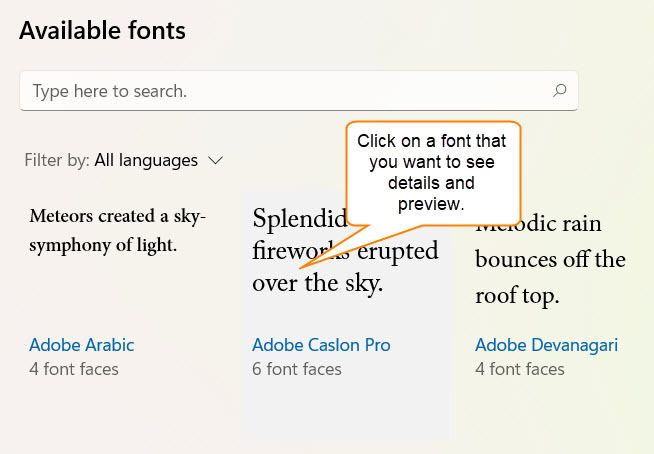 Preview a Font