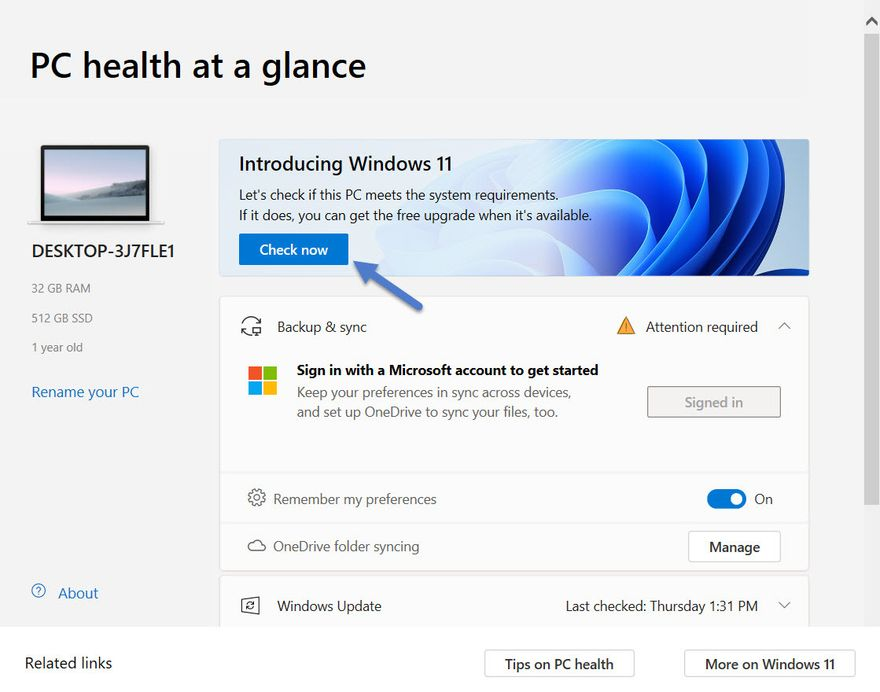 Windows PC Health Check is installed